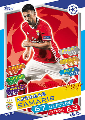 2016-17 - Topps UEFA Champions League Match Attax - N° BEN8 - Andreas SAMARIS (SL Benfica)