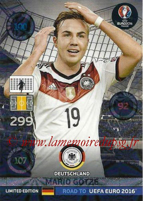 Panini Road to Euro 2016 Cards - N° LE-MG - Mario GOTZE (Allemagne) (Limited Edition)
