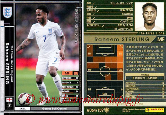 2015-16 - Panini WCCF - N° A064 - Raheem STERLING (Angleterre)