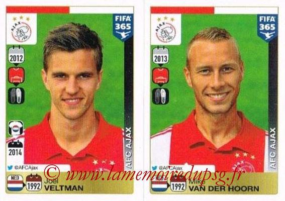 2015-16 - Panini FIFA 365 Stickers - N° 644-645 - Joël VELTMAN + Mike van der HOORN (AFC Ajax)