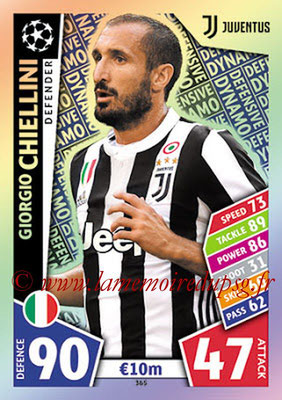2017-18 - Topps UEFA Champions League Match Attax - N° 365 - Giorgio CHIELLINI (Juventus) (Defensive Dynamo)