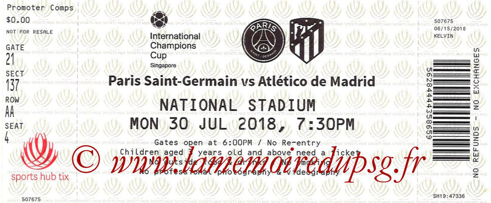 Ticket  PSG-Atletico Madrid  2018-19