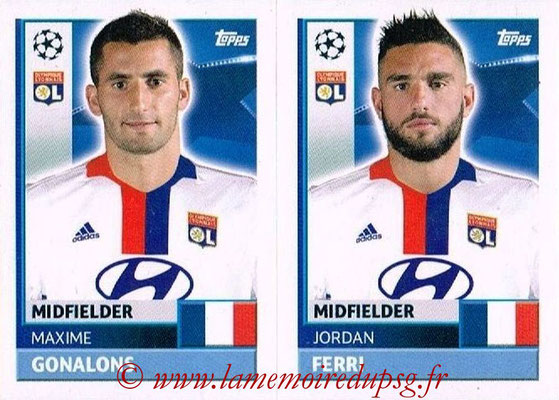 2016-17 - Topps UEFA Champions League Stickers - N° LYO 12-13 - Sergi DARDER + Jordan FERRI (Olympique Lyonnais)