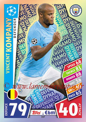 2017-18 - Topps UEFA Champions League Match Attax - N° 167 - Vincent KOMPANY (Manchester City FC) (Defensive Dynamo)