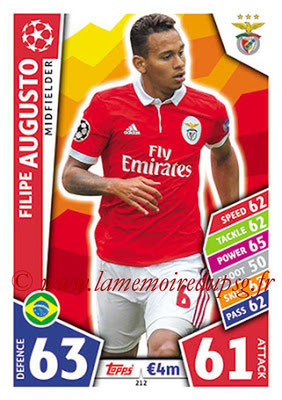 2017-18 - Topps UEFA Champions League Match Attax - N° 212 - Filipe AUGUSTO (SL Benfica)