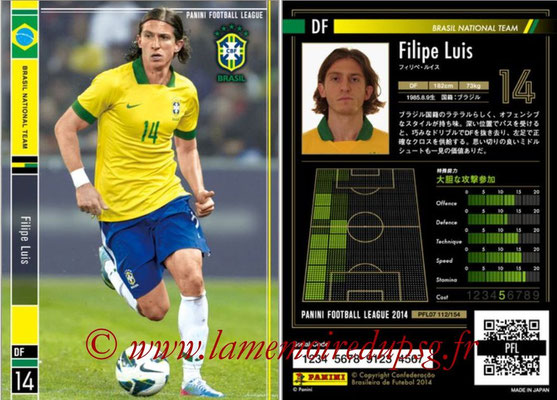Panini Football League 2014 - PFL07 - N° 112 - Filipe LUIS (Bresil)