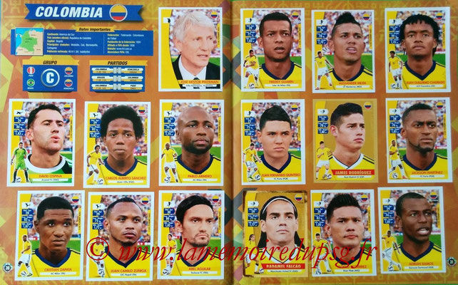 Navarette Copa America Chile 2015 Stickers - Pages 30 et 31 - Colombie