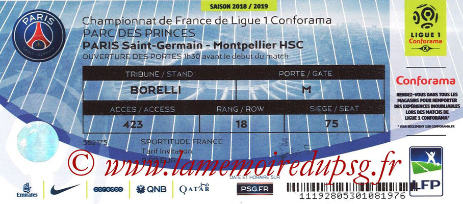 Tickets  PSG-Montpellier  2018-19