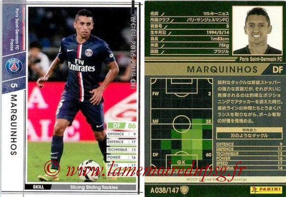 2014-15 - WCCF - N° A038 - MARQUINHOS (Paris Saint-Germain)