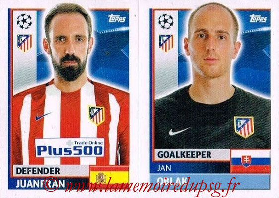 2016-17 - Topps UEFA Champions League Stickers - N° ATL 4-5 - Jan OBLAK + JUANFRAN (Club Atletico de Madrid)
