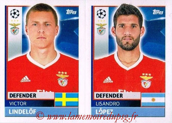 2016-17 - Topps UEFA Champions League Stickers - N° BEN 8-9 - Lisandro LOPEZ + Victor LINDELOF (SL BenFica)