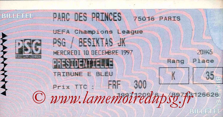 Tickets  PSG-Besiktas  1997-98