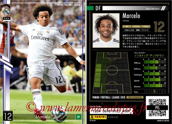 Panini Football League 2015 - PFL10 - N° 034 - MARCELO (Real Madrid)