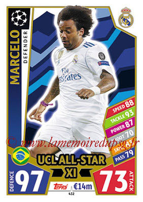 2017-18 - Topps UEFA Champions League Match Attax - N° 432 - MARCELO (Real Mdrid CF) (UCL All-Star XI)