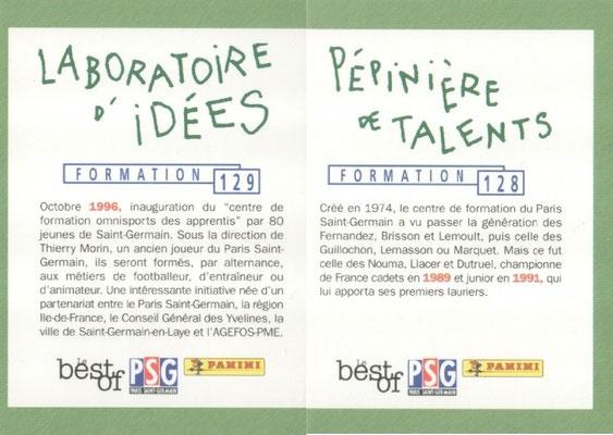 N° 128 et 129 - Formation - Pépinière de talents et Laboratoire d'idées (Verso)