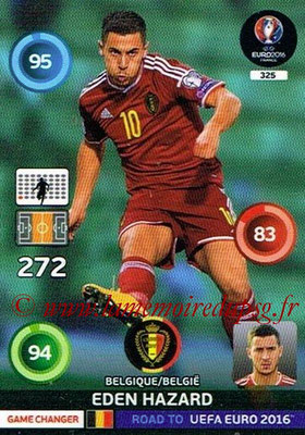 Panini Road to Euro 2016 Cards - N° 325 - Eden HAZARD (Belgique) (Game Changer)