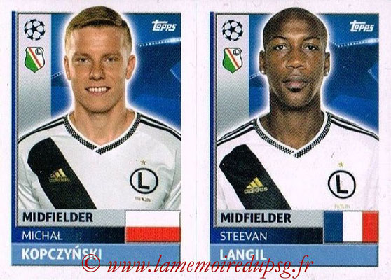2016-17 - Topps UEFA Champions League Stickers - N° QFE 9-10 - Steeven LANGIL + Michal KOPCZYNSKI (Legia Varsovie)