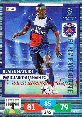 2013-14 - Adrenalyn XL champions League N° 312 - Blaise Matuidi (Paris Saint-Germain) (Fans' Favourite)