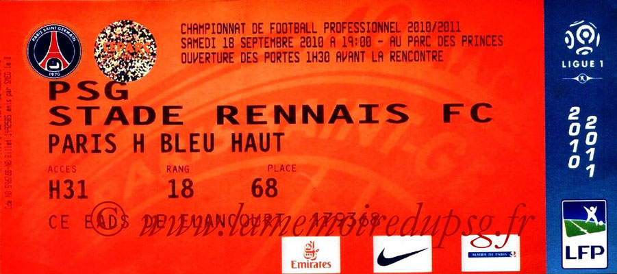 Tickets  PSG-Rennes  2010-11