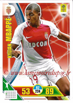 2017-18 - Panini Adrenalyn XL Ligue 1 - N° 190 - Kylian MBAPPE (Monaco)