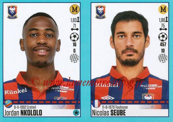 2016-17 - Panini Ligue 1 Stickers - N° 162 + 163 - Jordan NKOLOLO + Nicolas SEUBE (Caen)