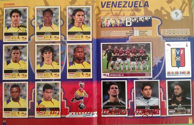 Panini Copa América Argentina 2011 - Pages 24 et 25 - Equateur et Vénézuela