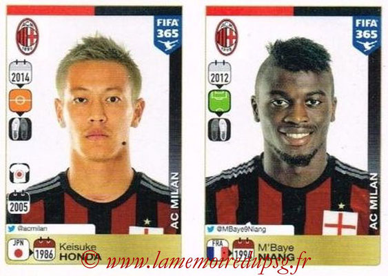 2015-16 - Panini FIFA 365 Stickers - N° 605-606 - Keisuke HONDA + M'Baye NIANG (Milan AC)