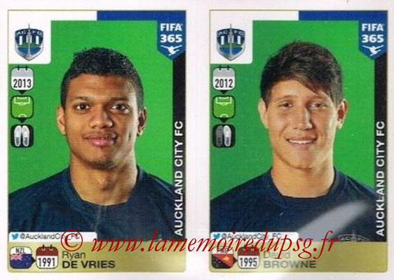 2015-16 - Panini FIFA 365 Stickers - N° 697-698 - Ryan DE VRIES + David BROWNE (Auckland City FC)
