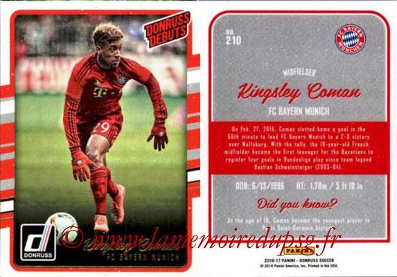 2016 - Panini Donruss Cards - N° 210 - Kingsley COMAN (FC Bayern Munich) (Donruss Debuts)