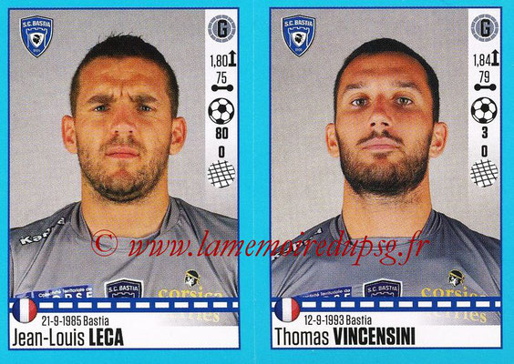 2016-17 - Panini Ligue 1 Stickers - N° 062 + 063 - Jean-Louis LECA + Thomas VINCENSINI (Bastia)