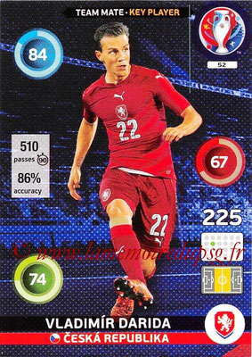 Panini Euro 2016 Cards - N° 052 - Vladimir DARIDA (République Tchèque) (Key Player)