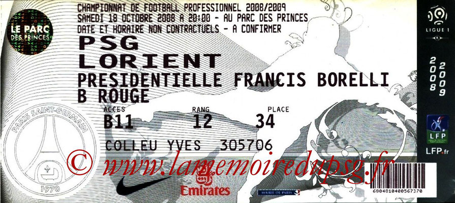 Tickets  PSG-Lorient  2008-09