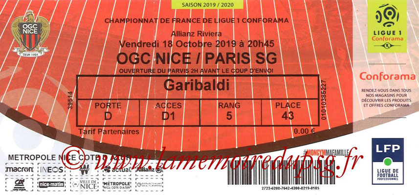 Ticket  Nice-PSG  2019-20
