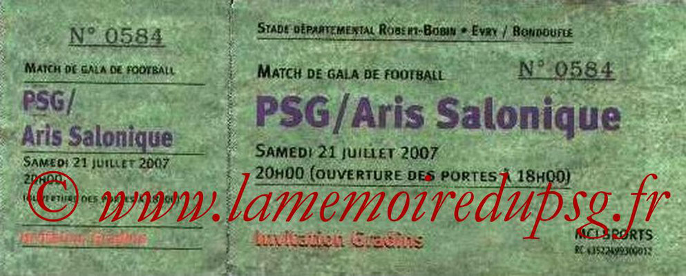 Tickets  PSG-Aris Salonique  2007-08
