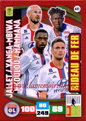 2016-17 - Panini Adrenalyn XL Ligue 1 - N° 421 - Christophe JALLET + Mapou YANGA-MBIWA + Nicolas NKOULOU + Emanuel MAMMANA  (Lyon) (Rideau de fer)
