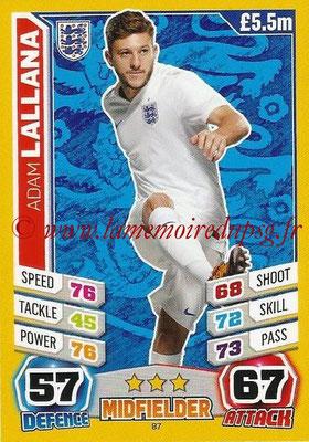 Topps Match Attax England 2014 - N° 087 - Adam LALLANA (Angleterre)