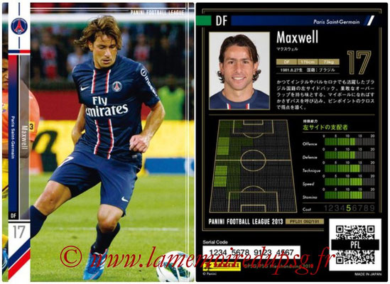 Panini Football League 2013 - PFL01 - N° 092 - Maxwell ( Paris Saint-Germain )