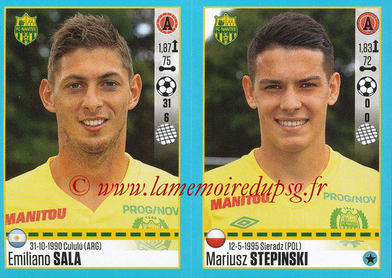 2016-17 - Panini Ligue 1 Stickers - N° 630 + 631 - Emiliano SALA + Mariusz STEPINSKI (Nantes)