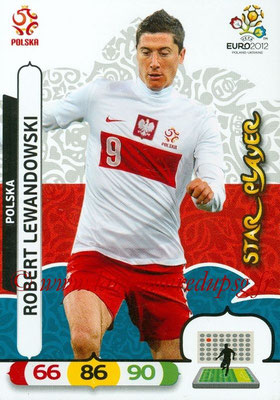 Panini Euro 2012 Cards Adrenalyn XL - N° 162 - Robert LAWANDOWSKI (Pologne) (Star Player)