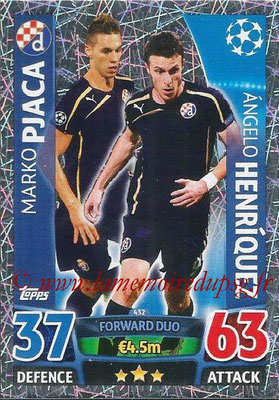 2015-16 - Topps UEFA Champions League Match Attax - N° 432 - Marko PJACA + Angelo HENRIQUEZ (GNK Dinamo Zagreb) (Forward Duo)
