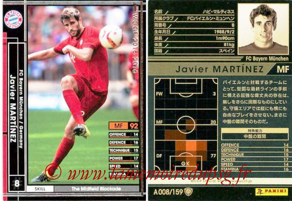 2015-16 - Panini WCCF - N° A008 - Javi MARTINEZ (FC Bayern Munich)