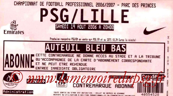 Tickets  PSG-Lille  2006-07