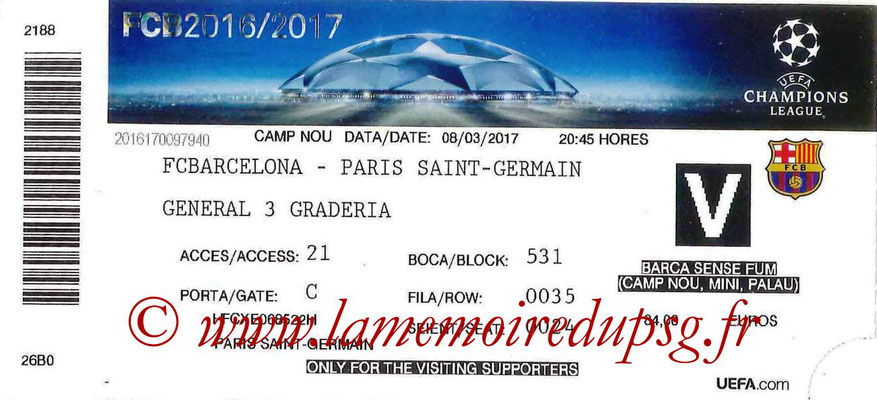 Ticket  Barcelone-PSG  2016-17