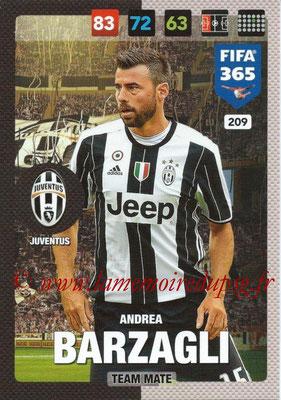 2016-17 - Panini Adrenalyn XL FIFA 365 - N° 209 - Andra BARZAGLI (Juventus FC)