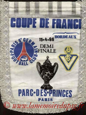 Grands fanions  PSG-Bordeaux  1985-86