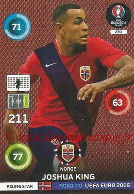 Panini Road to Euro 2016 Cards - N° 270 - Joshua KING (Norvège) (Rising Star)