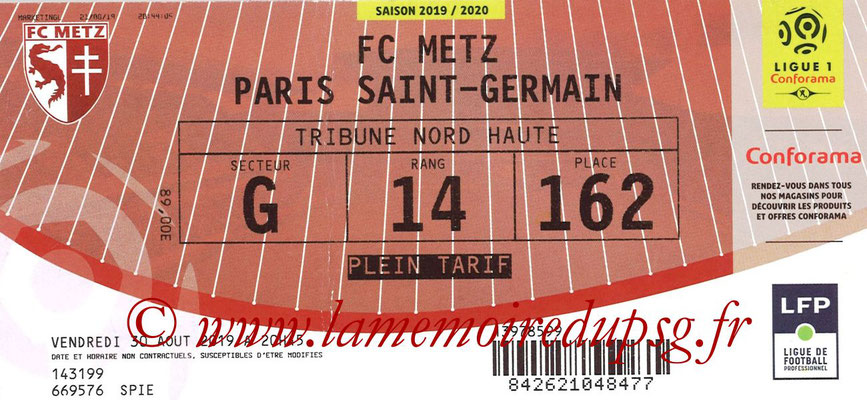 Ticket  Metz-PSG  2019-20