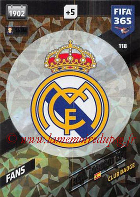 2017-18 - Panini FIFA 365 Cards - N° 118 - Logo Real Madrid CF (Club Badge)