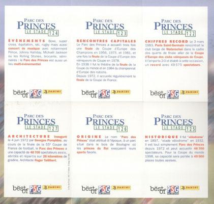 N° 122 à 127 - Parc des Princes - Le Stade (Verso)