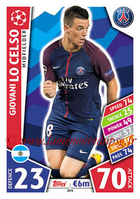 2017-18 - Topps UEFA Champions League Match Attax - N° 264 - Giovani LO CELSO (Paris Saint-Germain)